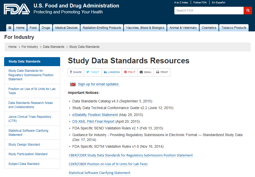 FDA Study Data Standards - Website http://www.fda.