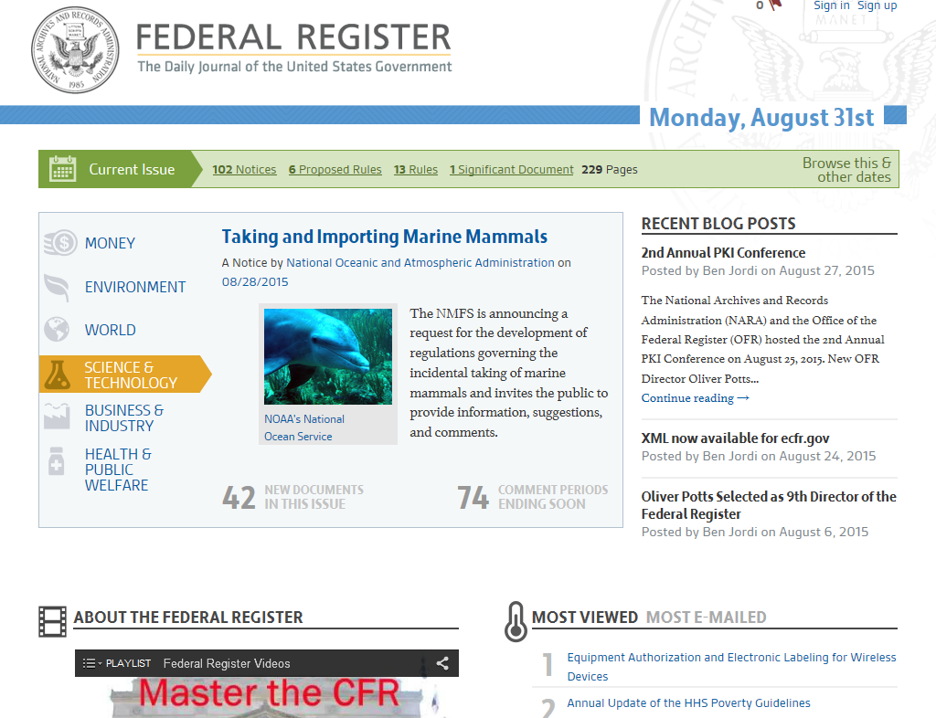 Federal Register https://www.federalregister.