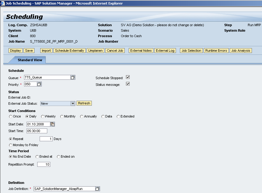 Job Documentation Scheduling Maintenance Configure corresponding job scheduling from within