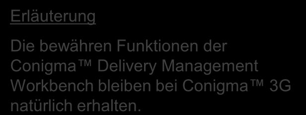 Conigma Delivery Management Workbench Die bewähren Funktionen der