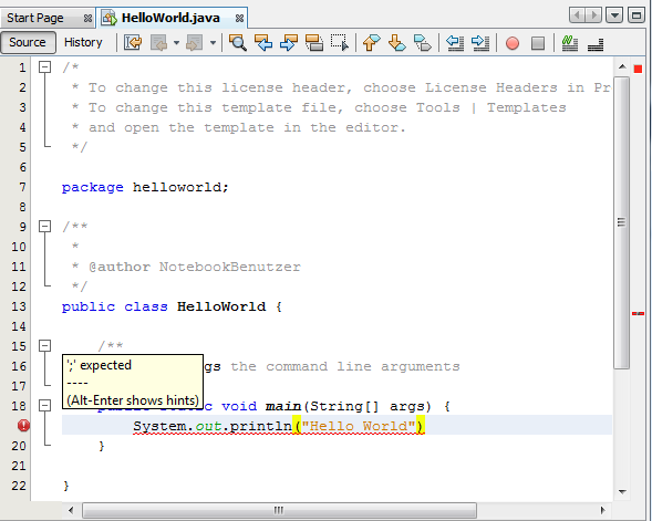 Syntaxfehler in NetBeans Java