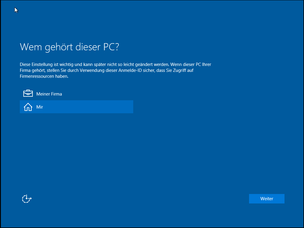 Installation von Windows 10 c)