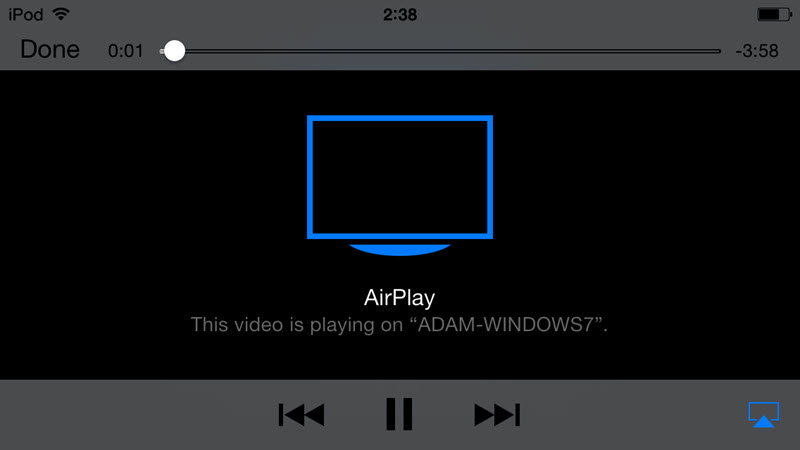 Tips: 1. Wenn Sie eine AirPlay-fähige Applikation laufen, wie YouTube, Netflix, Spotify u.a., wird AirPlay-Icon in der Navigationsleiste sichtbar.