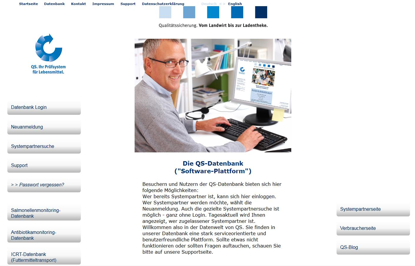 1 Login in die Software-Plattform http://www.qs-plattform.de/ Datenbank http://www.qsplattform.