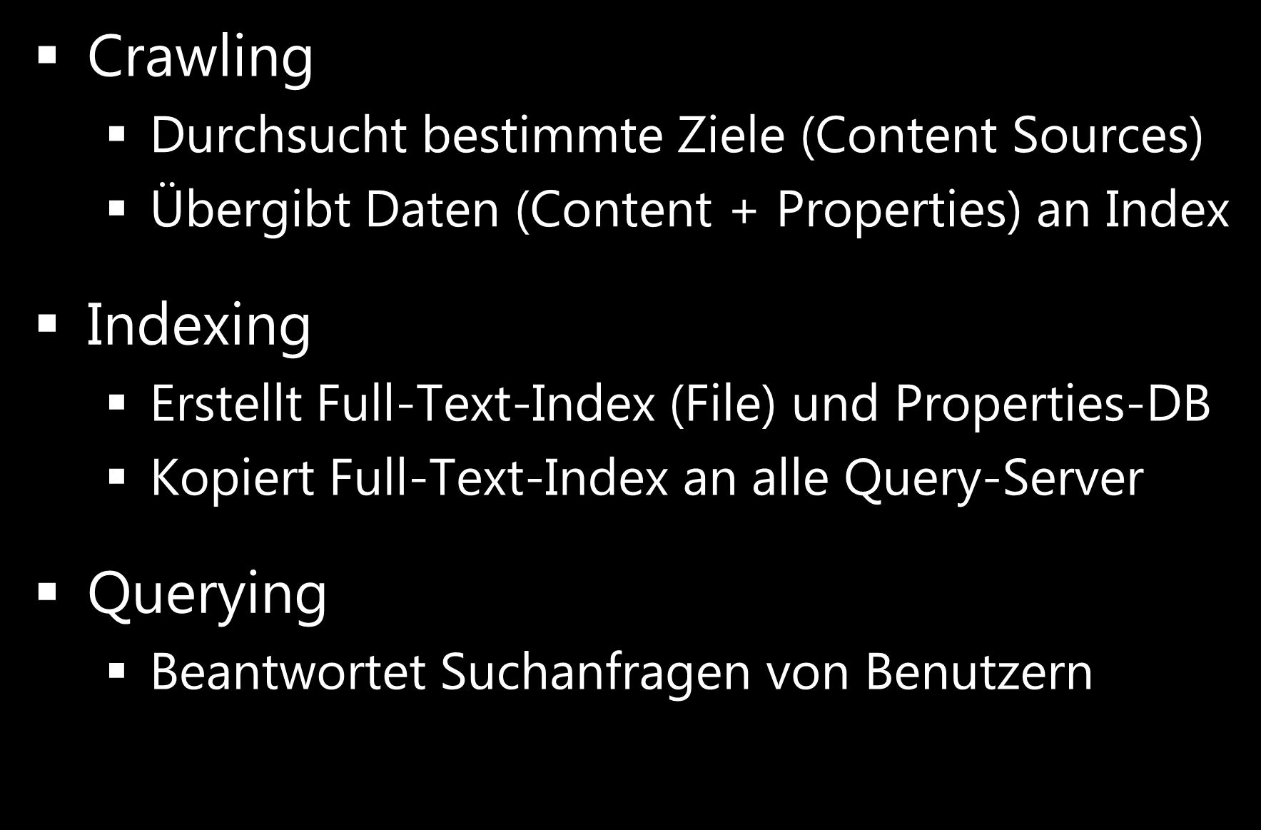 Grundlagen Crawling, Indexing, Quering? Was ist was?