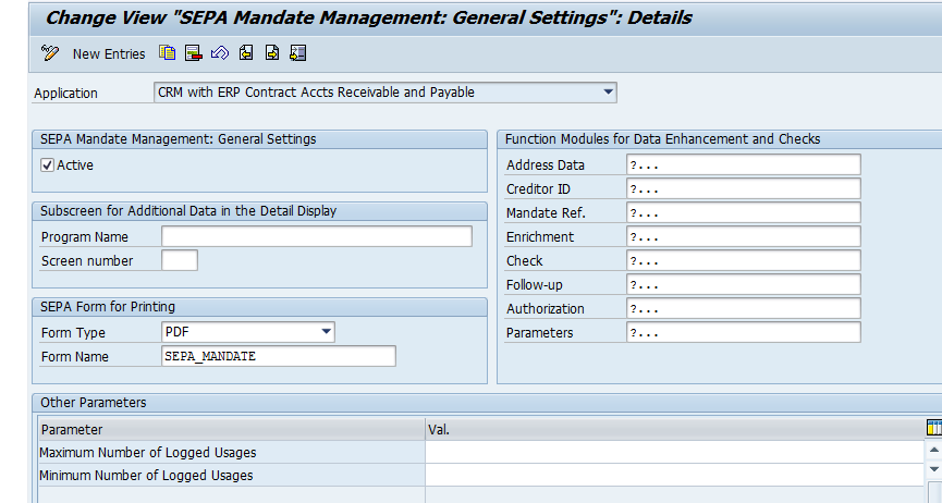 Data Exchange of SEPA Mandates SEPA mandates can be exchanged between SAP CRM and SAP ERP: Contract Accounts Receivable and Payable (FI-CA) Accounts Receivable (FI-AR) In Customizing the application,