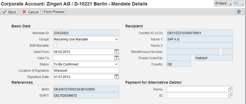 Maintenance of Mandates in the CRM Business Partner You can enter SEPA mandates for each bank account You can print a SEPA