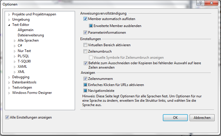 Optionen für Visual Studio Extras Optionen.
