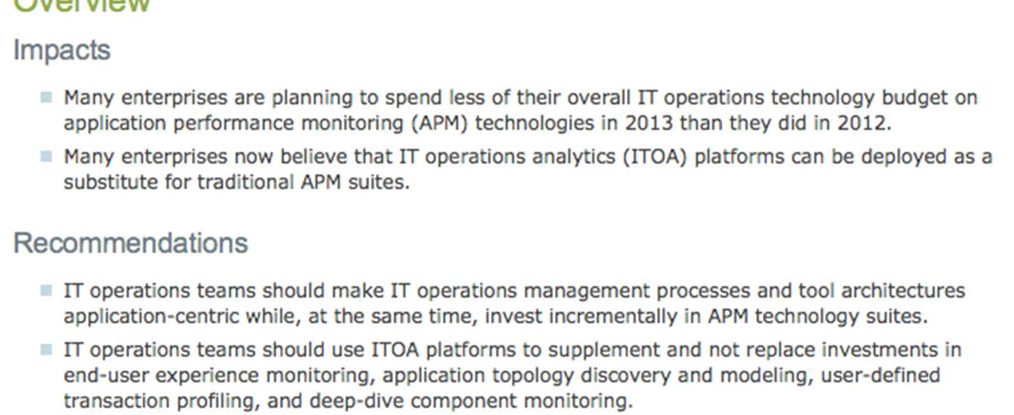 Gartner: IT Operations Analytics (ITOA)