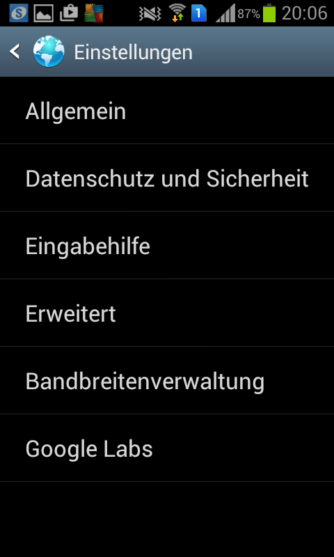 Android, Internet Browser: Passwort