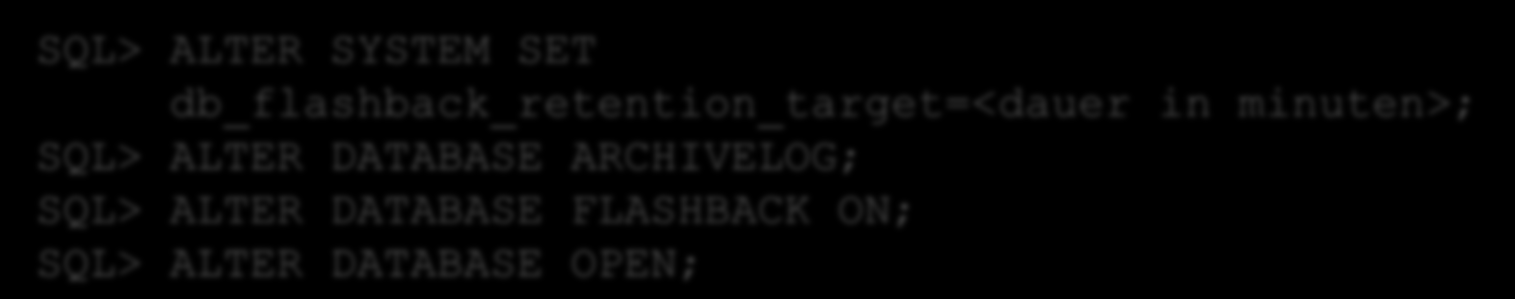 Anwendungstests Vorbereiten: Einschalten von Flashback auf der neuen DB SQL> ALTER SYSTEM SET db_flashback_retention_target=<dauer in minuten>; SQL> ALTER DATABASE ARCHIVELOG; SQL> ALTER DATABASE