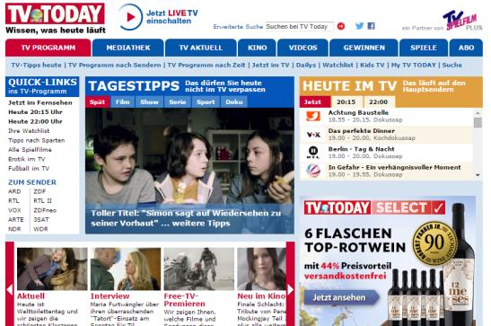 TV TODAY Online tagesaktuell und unterwegs verfügbar Display iphone App, Android App Mobile Web (m.tvtoday.