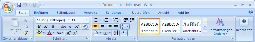Ein Ribbon enthält: Tabs Groups