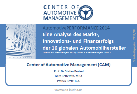 AutomotivePERFORMANCE 2014 Unternehmenslizenz für: Firma XY Kontakt/Impressum: Center of Automotive Management (CAM) Das Auto-Institut Direktor: Prof. Dr. Stefan Bratzel a Dr.