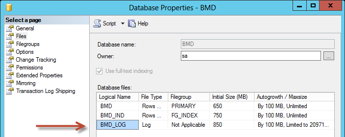 1.1.2. Kontrolle der Lage der Transaction-Log Datei Starten Sie das SQL Management Studio Databases rechte Maustaste auf BMD Properties.