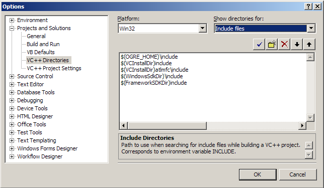 OGRE einrichten in VS08 Tools Options Projekts and Solutions VC++