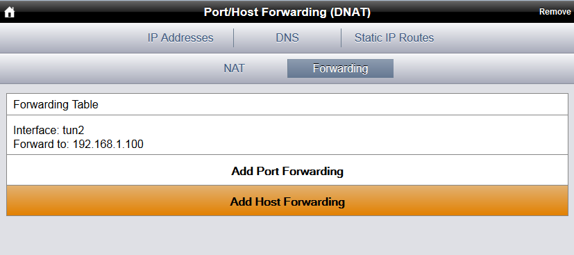 4.5 Ziel für Forwarding im MRT150N ändern 3. Auf Forwarding, dann auf Add Host Forwarding klicken Forwarding Add Host Forwarding 4.