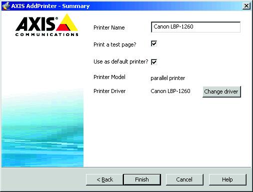 AXIS 540+/AXIS 560 Installation Guide Page 5 5. If AXIS AddPrinter does not automatically find a suitable driver for your printer, this dialog will be displayed.