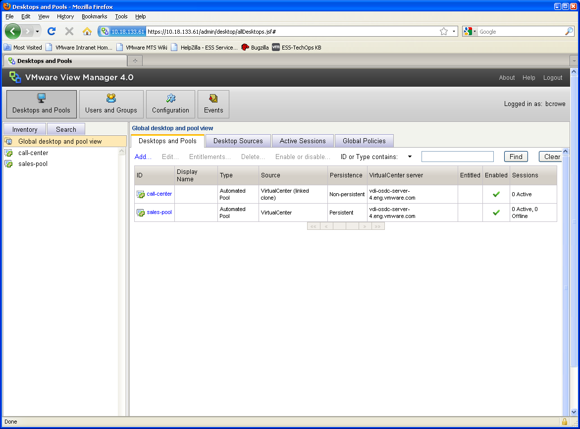Single administrative interface View Manager simple web based interface