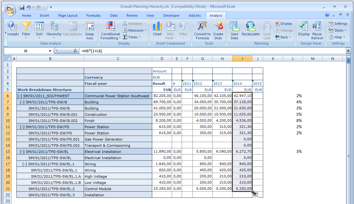 Excel: Formulas Formulas: Calculate input values or use additional