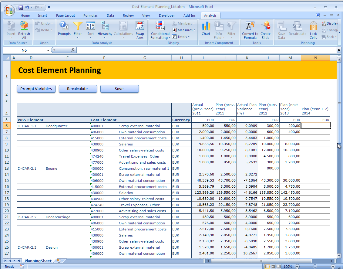 Planning is like Reporting, with input enabled columns Customers want to see in the planning layout