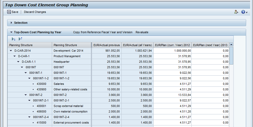 Same data can be planned in Hierarchy or List Planning in List Sorting Filtering Add new line