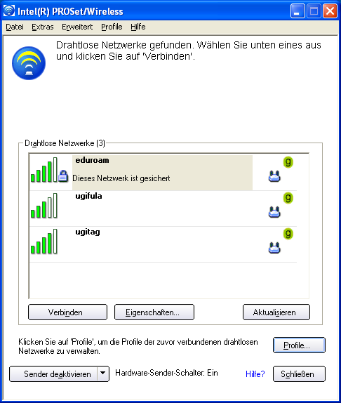 3. Starten Sie nun die Intel PROSet/Wireless Software.