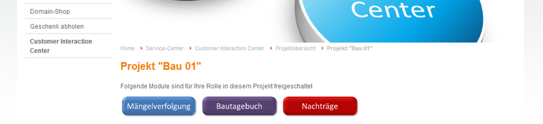 Customer Interaction Center Nach Einstieg in ein Projekt erhält der Kunde die