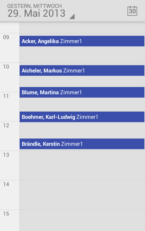 CHARLY Termine unter Android - Seite 11 Konfiguration des Android-Gerätes Über den Android-Kalender
