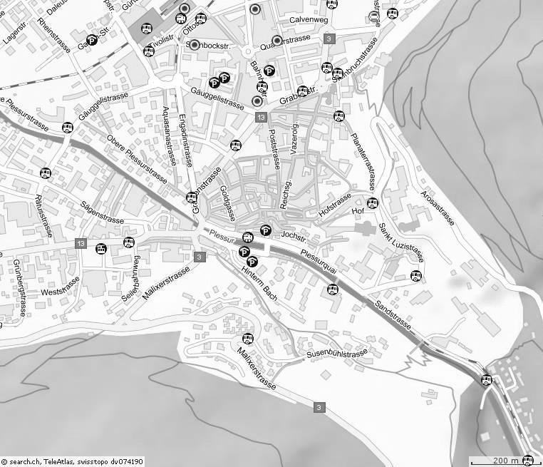 Karte der Stadt Chur City-map Hotel