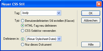 CSS (Cascading Style Sheets) Neue Stylesheet-Datei anlegen Text CSS-Style Neuer CSS-Style text.