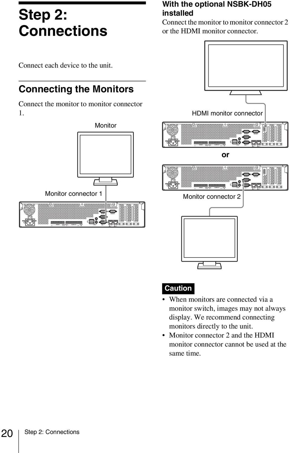 HDMI monitor connector Monitor or Monitor connector 1 Monitor connector 2 Caution When monitors are connected via a monitor switch, images