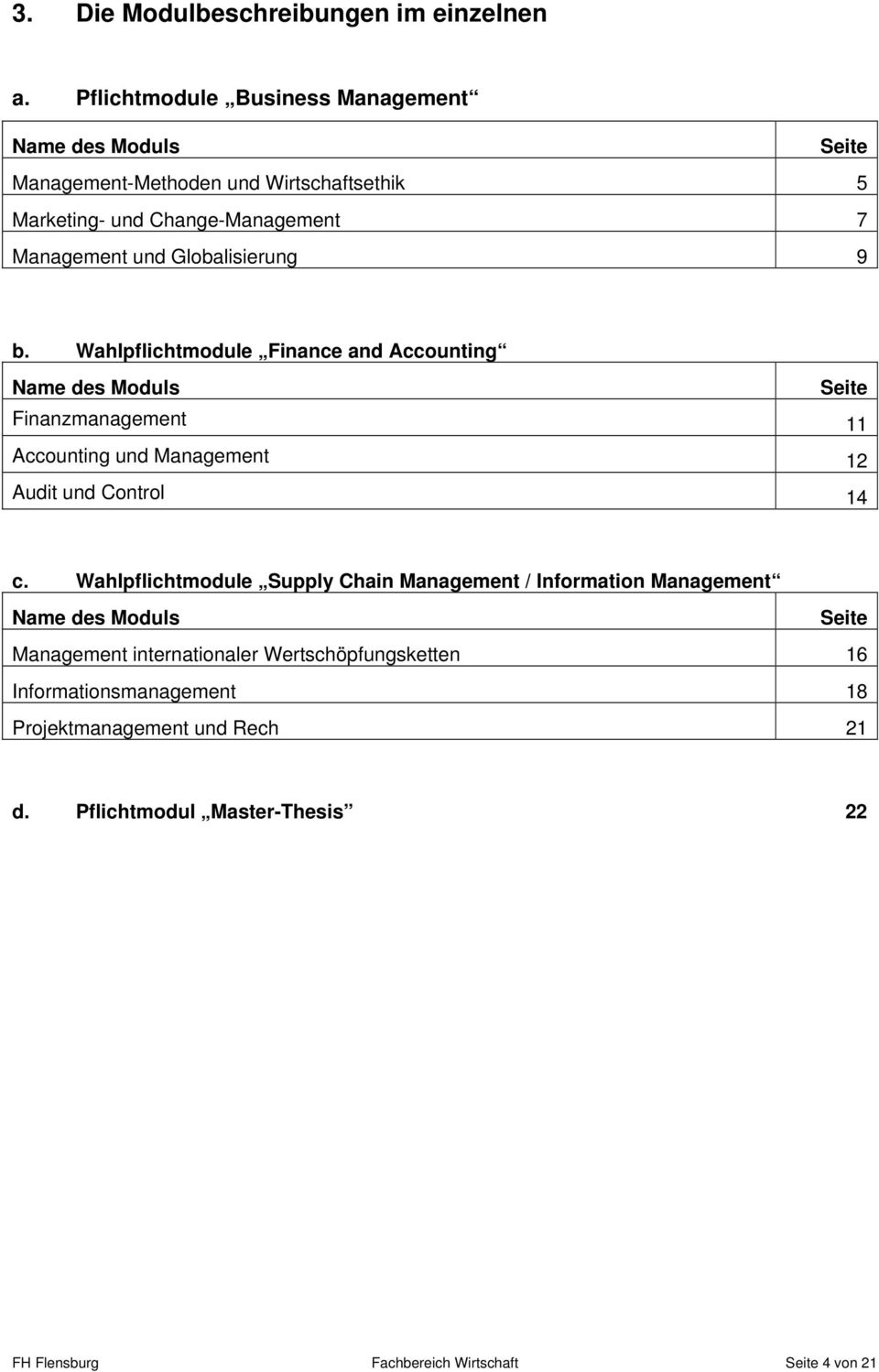 Globalisierung 9 b. Wahlpflichtmodule Finance and Accounting Name des Moduls Seite Finanzmanagement 11 Accounting und Management 12 Audit und Control 14 c.