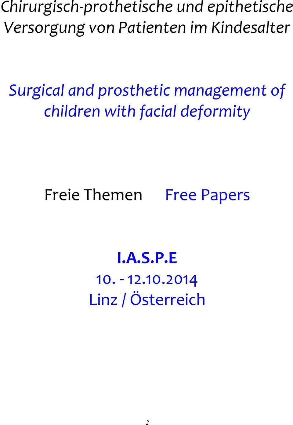 management of children with facial deformity Freie