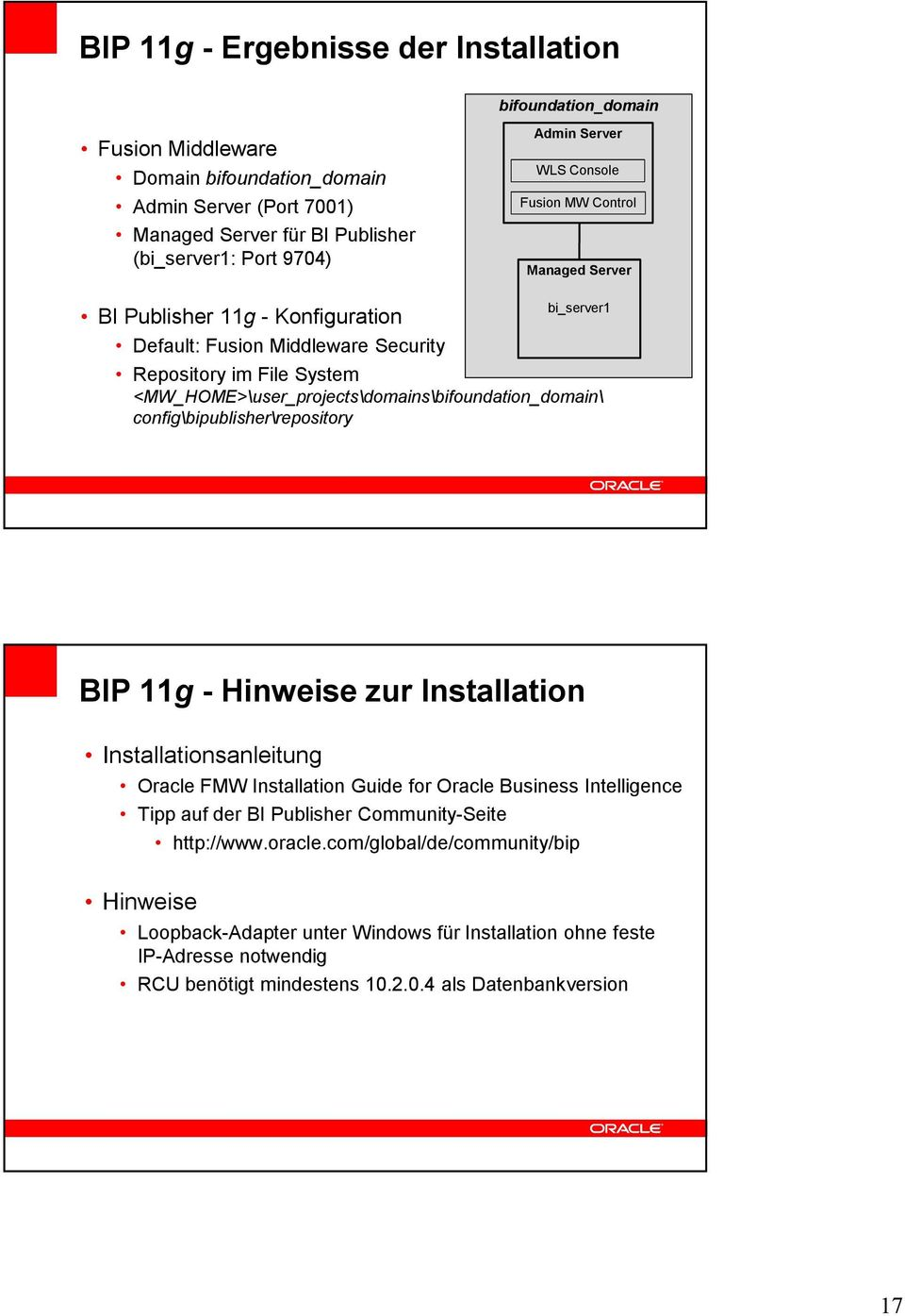<MW_HOME>\user_projects\domains\bifoundation_domain\ config\bipublisher\repository BIP 11g - Hinweise zur Installation Installationsanleitung Oracle FMW Installation Guide for Oracle Business