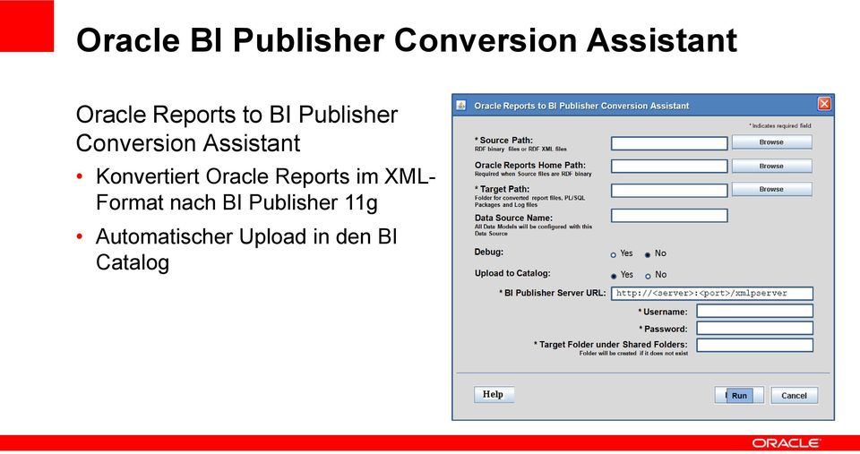 Konvertiert Oracle Reports im XML- Format nach