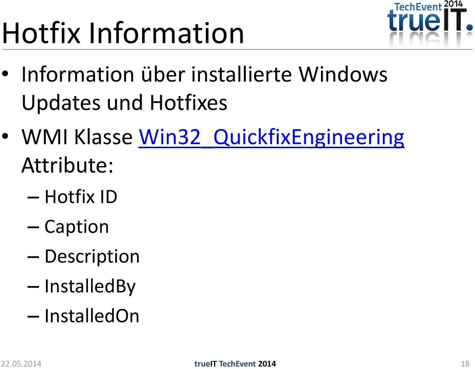 Win32_QuickfixEngineering Attribute: Hotfix ID
