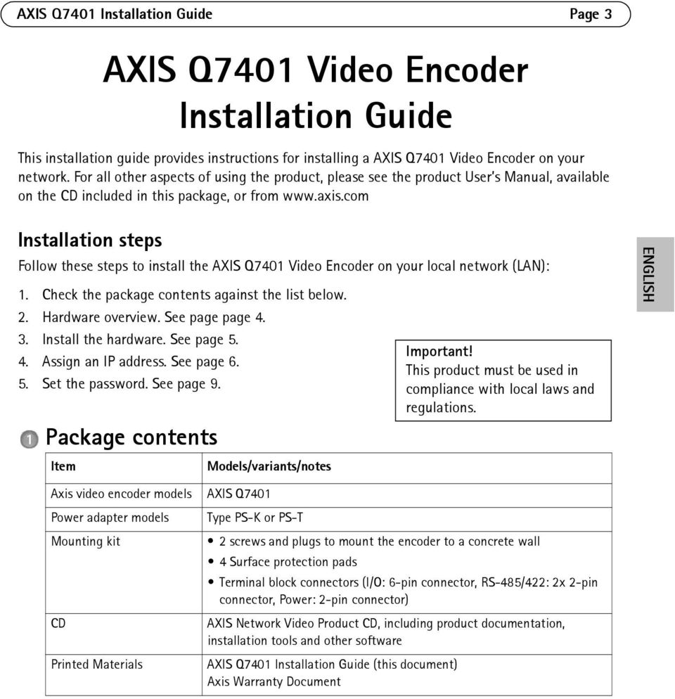 com Installation steps Follow these steps to install the AXIS Q7401 Video Encoder on your local network (LAN): 1. Check the package contents against the list below. 2. Hardware overview.