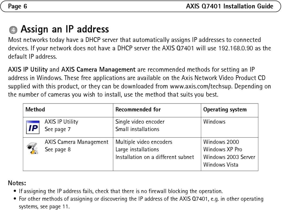 AXIS IP Utility and AXIS Camera Management are recommended methods for setting an IP address in Windows.
