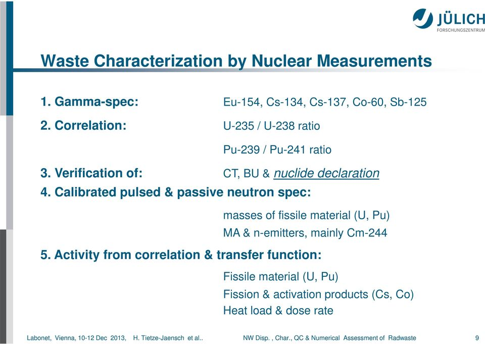Calibrated pulsed & passive neutron spec: masses of fissile material (U, Pu) MA & n-emitters, mainly Cm-244 5.