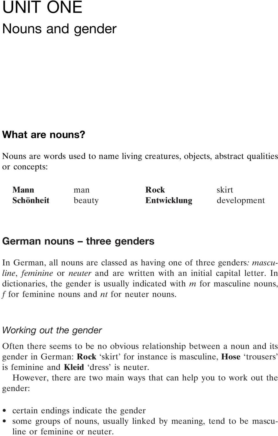 are classed as having one of three genders: masculine, feminine or neuter and are written with an initial capital letter.