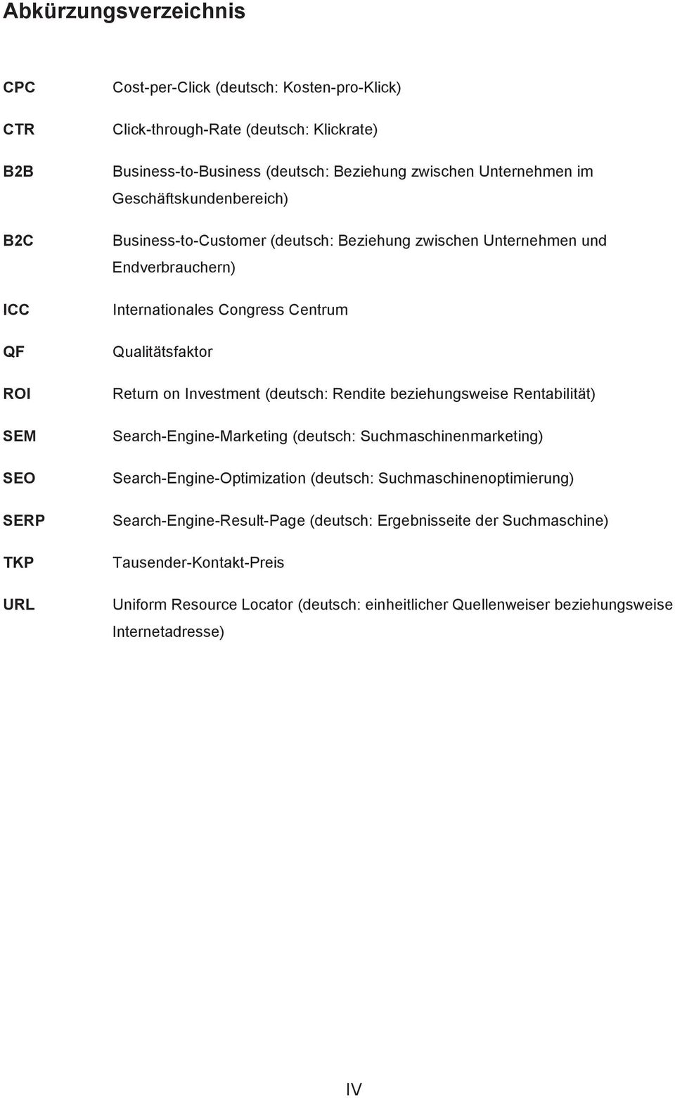 Qualitätsfaktor Return on Investment (deutsch: Rendite beziehungsweise Rentabilität) Search-Engine-Marketing (deutsch: Suchmaschinenmarketing) Search-Engine-Optimization (deutsch: