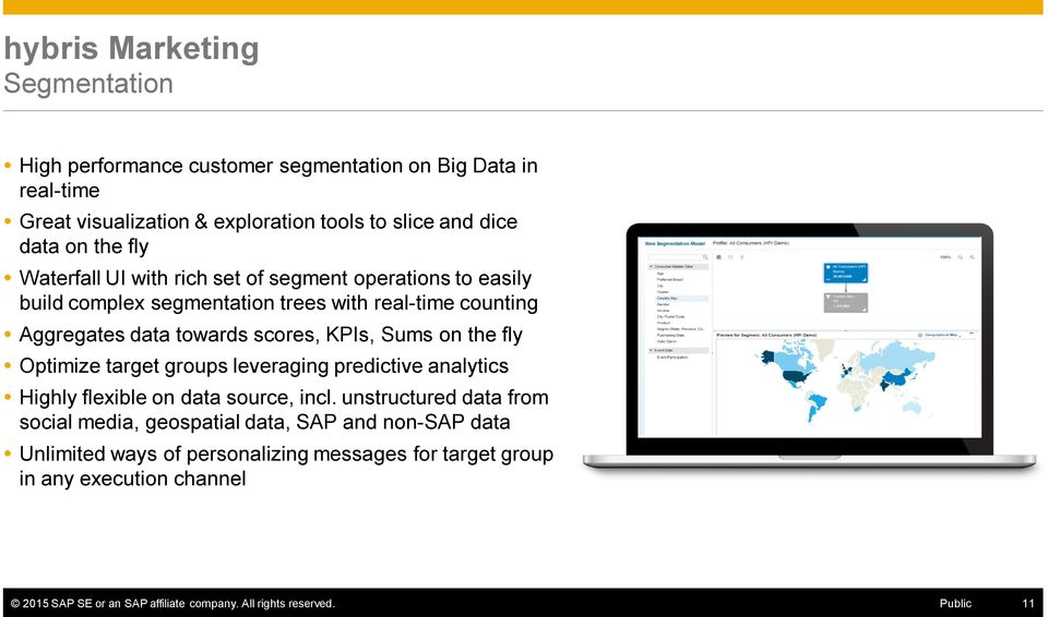 on the fly Optimize target groups leveraging predictive analytics Highly flexible on data source, incl.