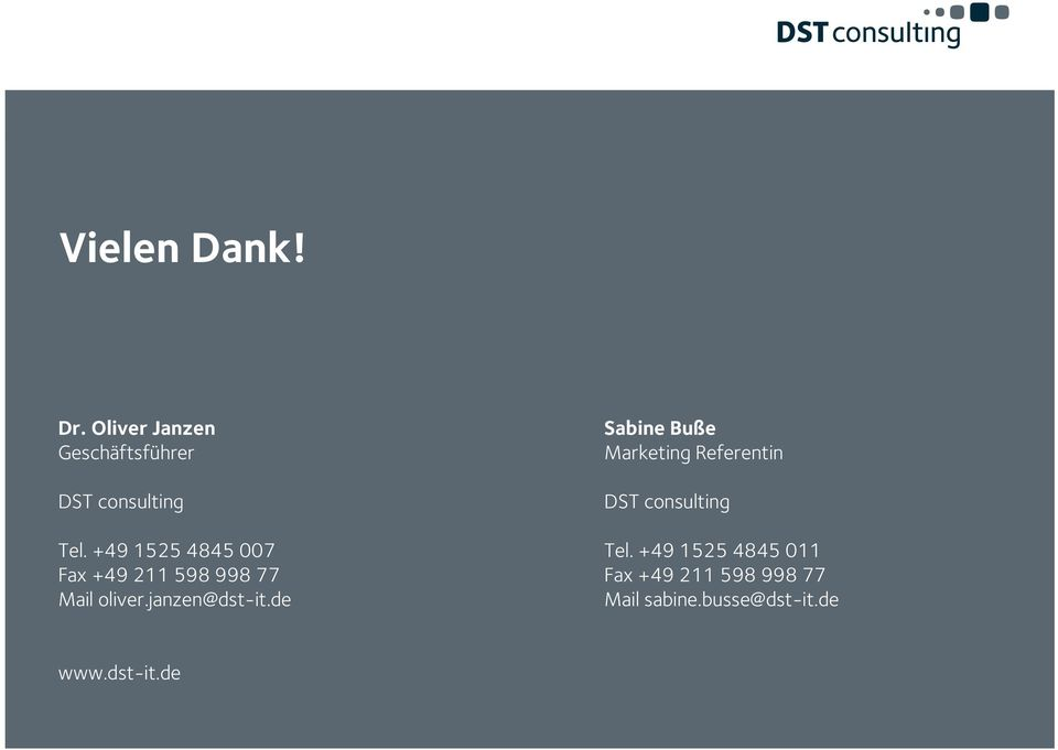 de Sabine Buße Marketing Referentin DST consulting Tel.