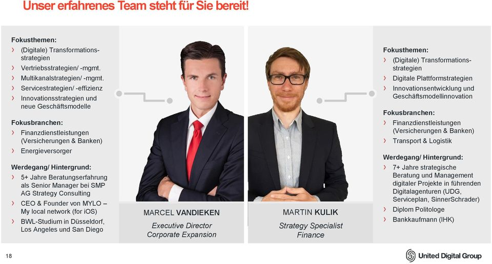 Beratungserfahrung als Senior Manager bei SMP AG Strategy Consulting CEO & Founder von MYLO My local network (for ios) BWL-Studium in Düsseldorf, Los Angeles und San Diego MARCEL VANDIEKEN Executive