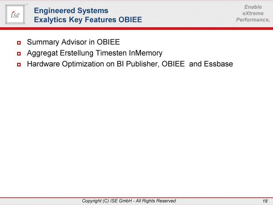 InMemory Hardware Optimization on BI Publisher, OBIEE