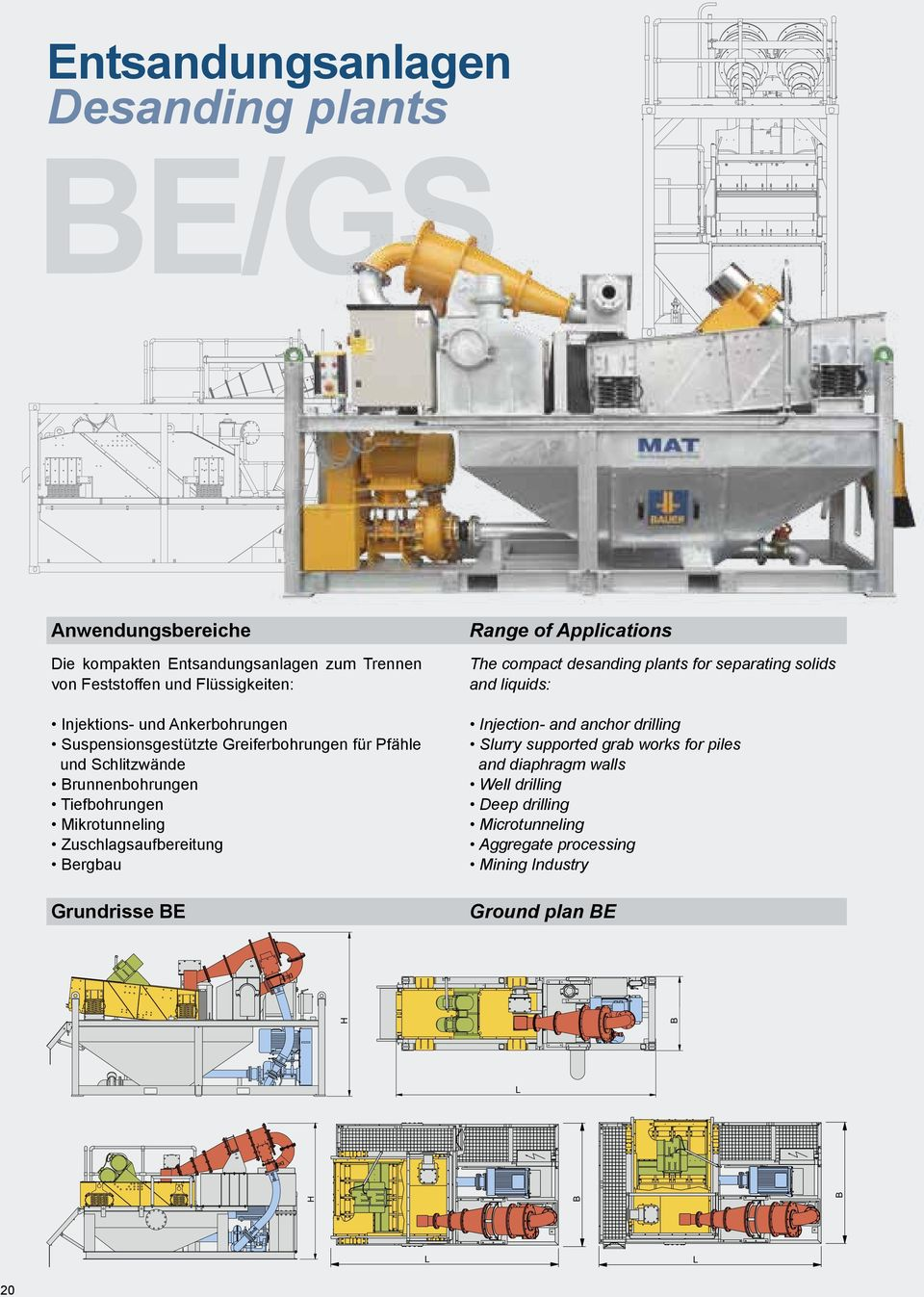 Bergbau Grundrisse BE Range of Applications The compact desanding plants for separating solids and liquids: Injection- and anchor drilling Slurry