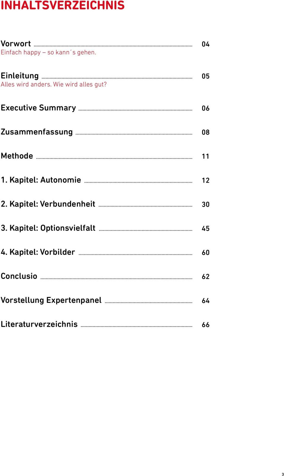 05 Executive Summary 06 Zusammenfassung 08 Methode 11 1. Kapitel: Autonomie 12 2.