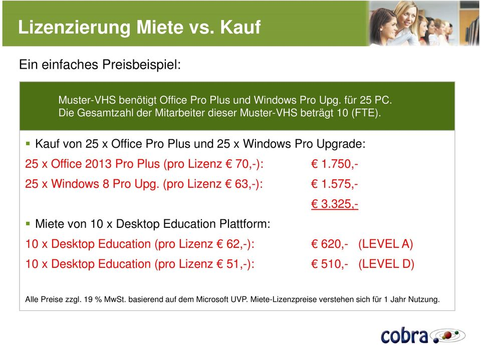 Kauf von 25 x Office Pro Plus und 25 x Windows Pro Upgrade: 25 x Office 2013 Pro Plus (pro Lizenz 70,-): 1.750,- 25 x Windows 8 Pro Upg. (pro Lizenz 63,-): 1.