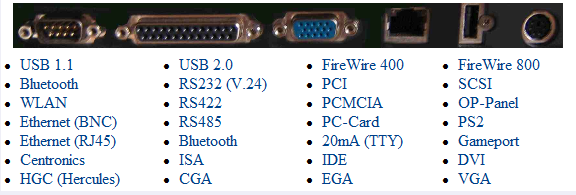 RS 232, RS 422, RS 485, USB, TCP/IP,